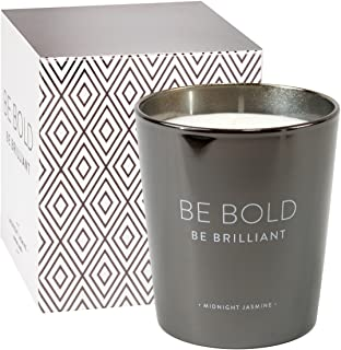 Eccolo Night Blooming Jasmine Scented Soy Wax Candle, Metallic Black Finish Glass, Be Bold Be Brilliant Inspirational Quote, Matching Gift Box - Made in Spain 7 Oz