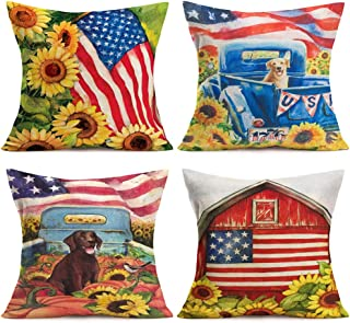 ShareJ 4 Pack Vintage Farmhouse Truck with Sunflower and Cute Dog Pillow Cases Oil Painting Farm Decorative Cotton Linen Independence Day American Flag Throw Pillow Covers Cushion Cover 18