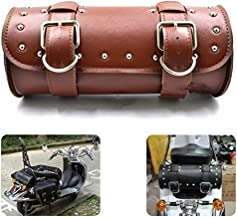 DLLL Universal Brown Motorcycle Round Barrel PU Leather Tool Side Front Bag Panniers Saddle Bag for Harley Cruiser Honda Suzuki Yamaha Kawasaki ATV Scooter Choppers