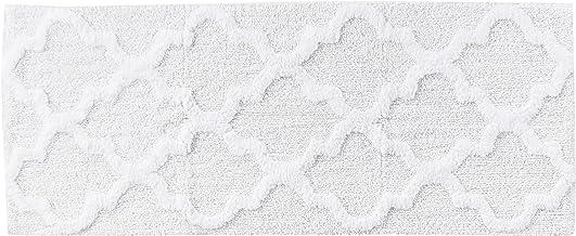 "Lavish Home Trellis Bathroom Mat, White, 24"" x 60"""