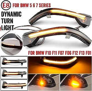 QKLsudua 2 st dynamisk sekventiell blinkning kompatibel med BMW 5 6 7-serien F10 F11 F07 F06 F12 F13 F01 LED sidospegel bl...