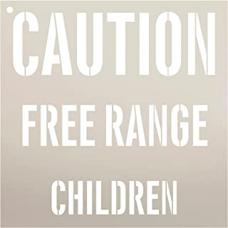 Caution Free Range Children Stencil by StudioR12 | Reusable Mylar Template | Use to Paint Wood Signs - Pallets - Pillows - DIY Child Decor - Select Size (9