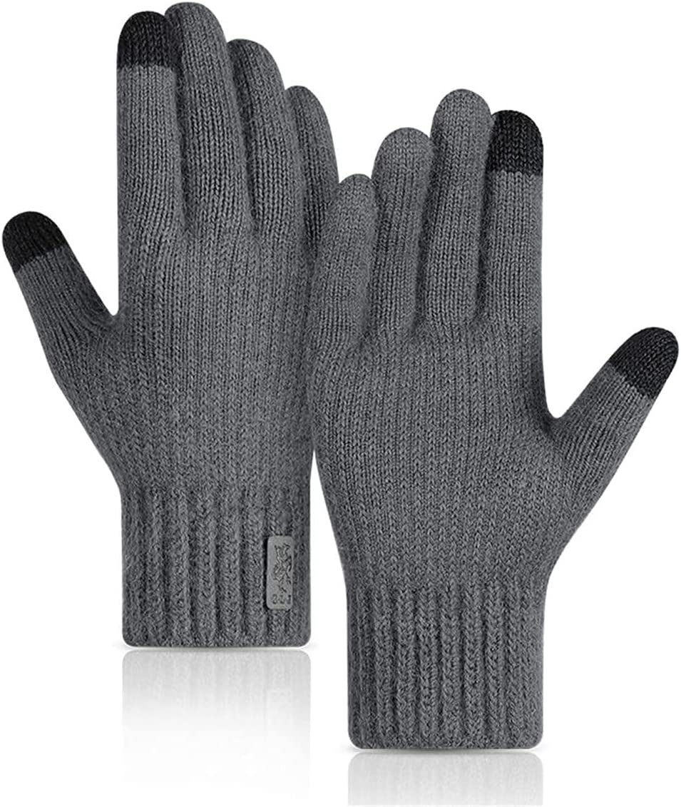 RSQJ Knitted Touch Screen Gloves for Men and Women Outdoor Gloves for Autumn and Winter Riding Plus Velvet Thick Windproof and Warm Alpaca Gloves (Color : Dark Gray, Size : X-Large)