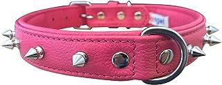 طوق كلاب من الجلد الطبيعي باللون الوردي الفاقع مقاس 55.88 سم × 2.54 سم، مبطن وناعم من الفولاذ المقاوم للصدأ، يناسب معظم ال...