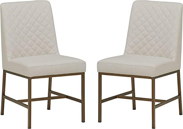 Rivet Vermont Modern Upholstered Diamond Accent Dining Chair Set Of 2 24 X 23 X 35 Inches Chalk White