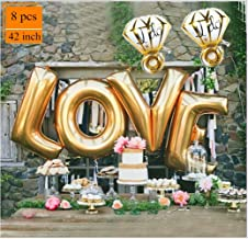 Love Balloons Diamond Ring Balloon Decorations Gold Letter Extra Large Balloon Set for Birthday Bachelorette Engagement Wedding Bridal Shower Graduation Fiesta Party Supplies SG055