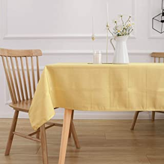 VEEYOO Polyester Rectangle Tablecloth Spillproof and Waterproof Striped Plaid Table Cloth Stain Resistant and Wrinkle Free Jacquard Checkered Table Cloth (Oblong Gold Tablecloth, 52x70 inches)