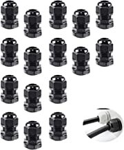 TamBee 1/2'' Npt Cable Glands Nylon Plastic Connectors UL Approved IP68 Waterproof Adjustable 6-12.5mm Cord Gland Assortment Joints Wire Protectors (16 Pack)