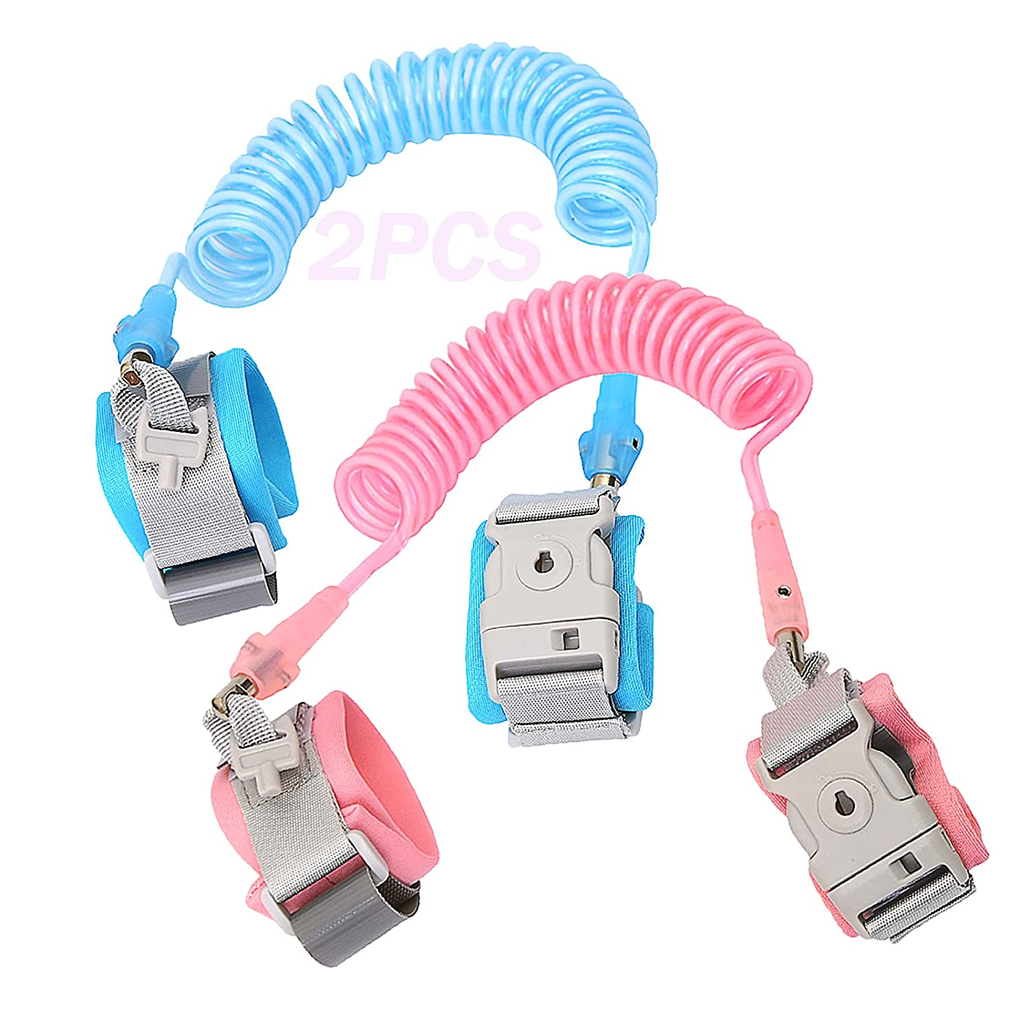 2PCS Anti Lost Wrist Link Safety Wrist Link with Upgraded Key Lock, Child Leash Suitable for Children, Infants and Children Safely (8.2ft Pink+8.2ft Blue)