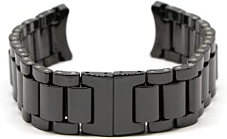 Swiss Legend 21MM Black Ceramic 7.5 Inch Watch Strap Band Bracelet with Stainless Clasp Fits 44mm Luminar Watch