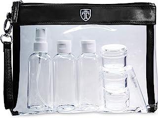 Neceser transparente, 7 envases impermeables (max.100ml) - 1l de capacidad - bolsa de cosméticos, equipaje de mano - transporte de líquidos en el avión, botella set de viaje - hombre, mujer