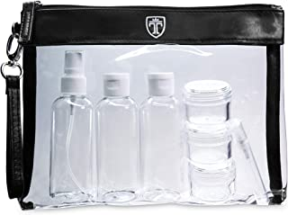 TSA Approved Clear Toiletry Bag with 7 Bottles (max.3.38oz) - Liduid Travel Set - Transparent Zipper Bag for Cosmetics - Plastic PVC Airport Airline Security Luggage Organizer Pouch Wash Kit TRAVANDO
