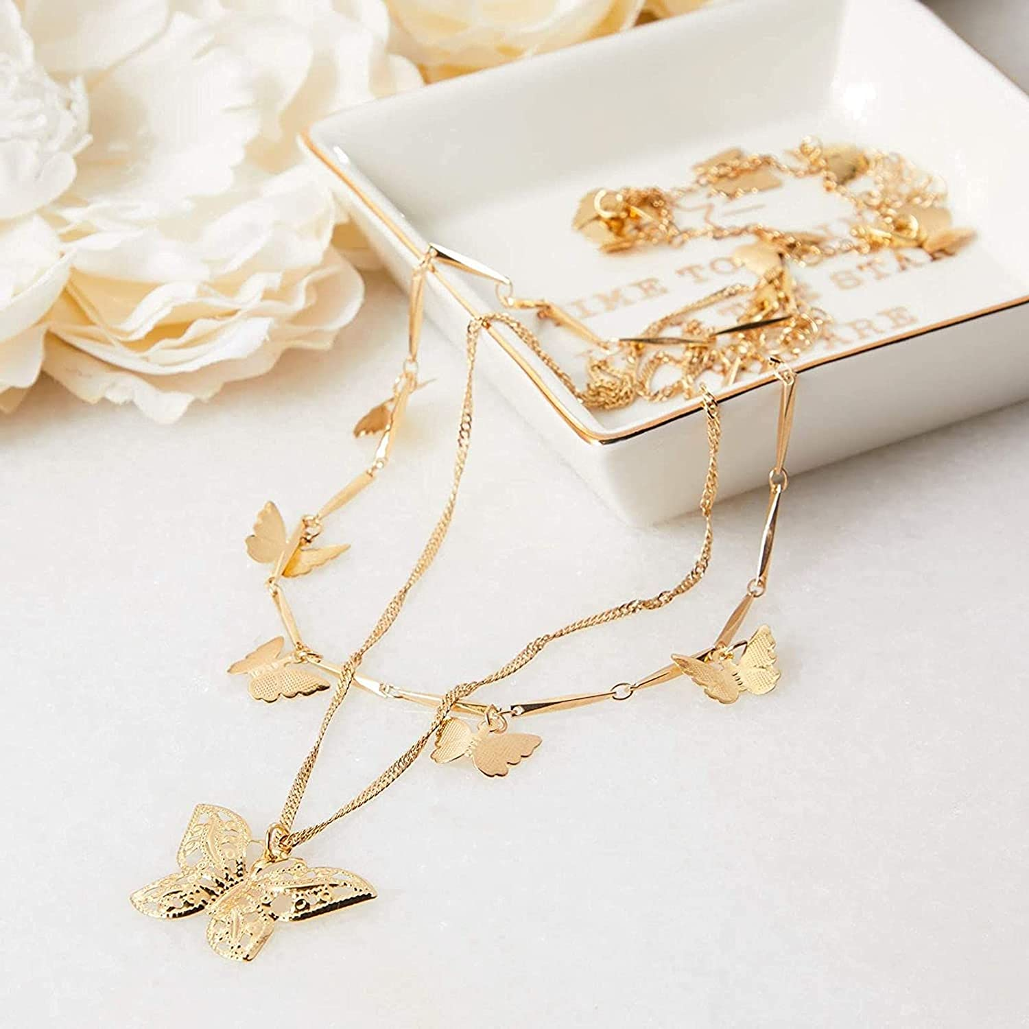 Glamlily Layered Gold Butterfly Necklace and Bracelet Set, Jewelry for Women (2 Pieces)