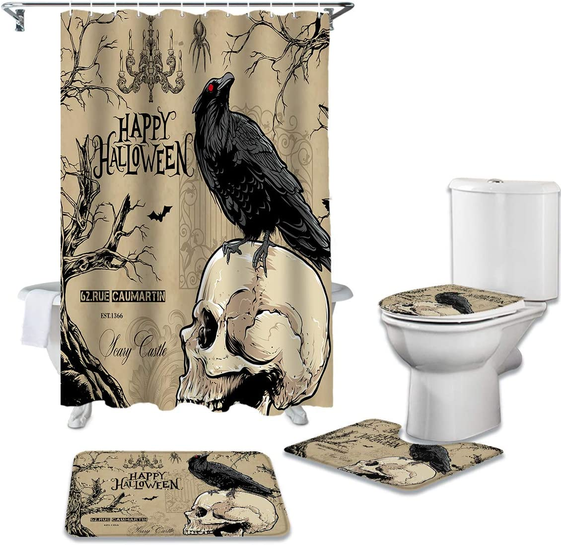 shopping Shower Curtain Sets 4 Pieces Non-Slip Halloween Max 80% OFF Rugs with Retro