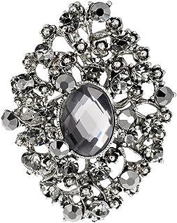 Cosanter 1x Moda Salvaje Exquisita Broche de Diamantes de Imitación Chapado en Plata Antigua Broche de Circón Plateado Pins