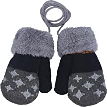 Amiley Baby Kids Boy Girl Knitted Winter Warm Soft Mittens Gloves with String