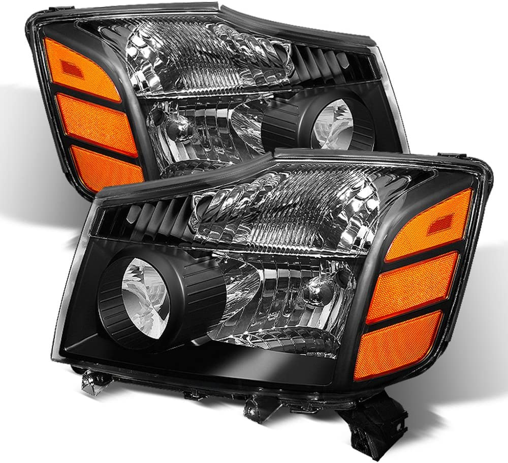ACANII - For 2004-2015 いつでも送料無料 Nissan ストア Black Headlight 04-07 Titan Armada