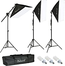 SUNCOO Photography Softbox Lighting Kit 20x26 in Continuous Soft Boxes Lighting Equipment Set for Photo Studio Video Shoot, 3 Softboxes with Light Stand, Cantilever