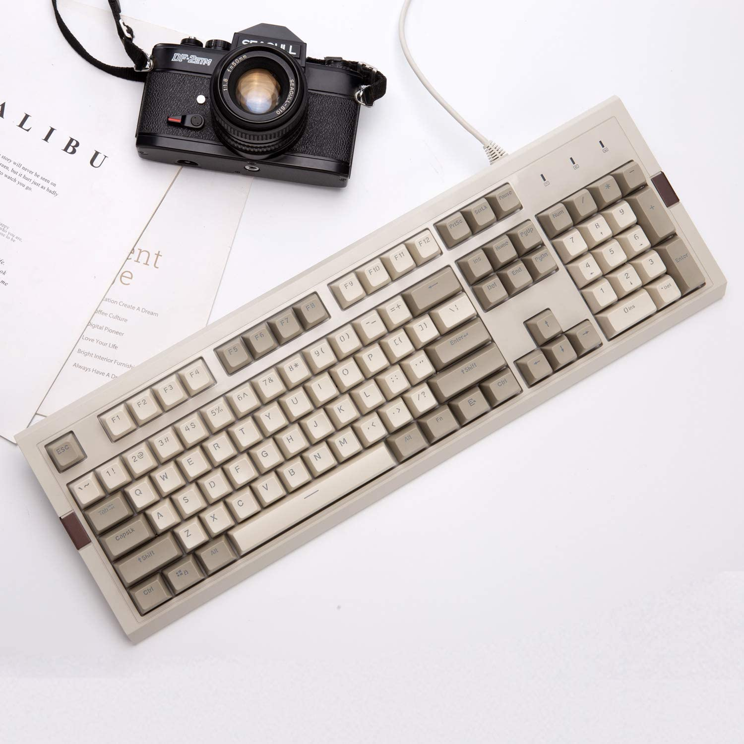 Classic Grey-White Matching PBT SP Spherical Keycaps Blue Switches RGB Backlight Ajazz AK510 Retro Mechanical Gaming Keyboard