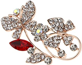 6 x 3.5cm/2.36 x 1.38inch-Badge Brooch Pins Corsage-for Women Clothing Scarf | Color - red