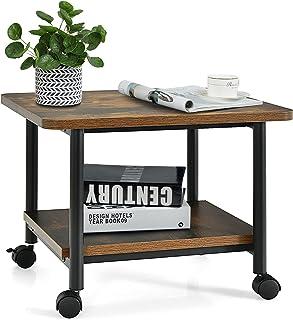 Costway Support d'Imprimante à Roulette à 2 Niveaux, Etagère pour Imprimante Organisateur de Bureau pour Télécopieur, Scan...