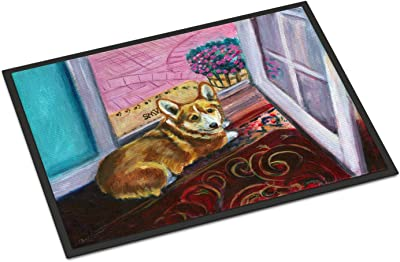"Caroline's Treasures Corgi Watching from The Door Indoor or Outdoor Mat 18x27 7410MAT, 18""H x 27""W, Multicolor"