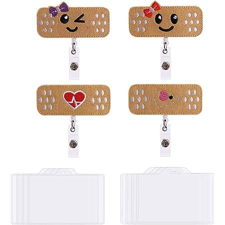 Clip per Badge di Identit/à Floreale Vintage per Infermiere Volontario Personale 2pcs Porta Badge Retrattile