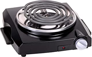 Techwood Hot Plate Electric Burner Countertop Burner Electric Cooktop Single Hot Plate 1100W Single Hot Plate Adjustable Temperature Ceramic Glass Stainless Steel Non-Slip Feet Sliver Easy To Clean (Single burner)
