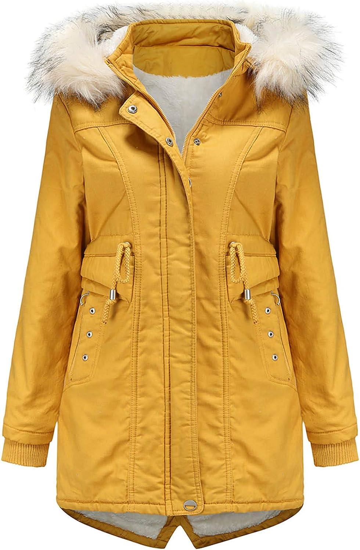 Women Coat Winter Mid-Length Fleece Detachable Hood Faux Fur Collar Winter Warm Overcoat URIBAKE