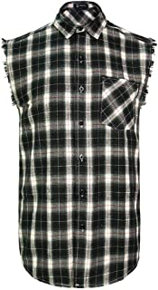 Sleeveless Plaid Snap-Front Shirt for Men, Cowboy Button Down Shitrs Black,3X-Large