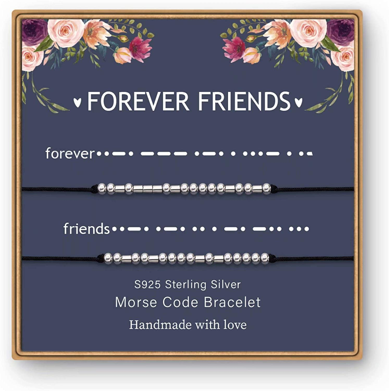925 Sterling Silver Beads on Silk Message Friendship Gifts Friendship Bracelets Gifts for Friends Gifts for Best Friends Women IEFWELL Morse Code Bracelets for Women Girls