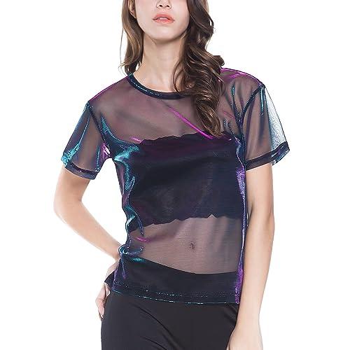 c60647d1f8abd Perfashion Holographic Mesh Shirt Metallic Shimmer See Through Shiny Top  for Women