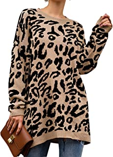 PRETTYGARDEN Women's Casual Leopard Print Long Sleeve Crew Neck Oversized Pullover Knit Sweaters Tops