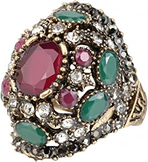 BiLiBiLi Jewelry Luxury Turkish Jewelry Colorful Ancient Gold Color Vintage Wedding Rings for Women