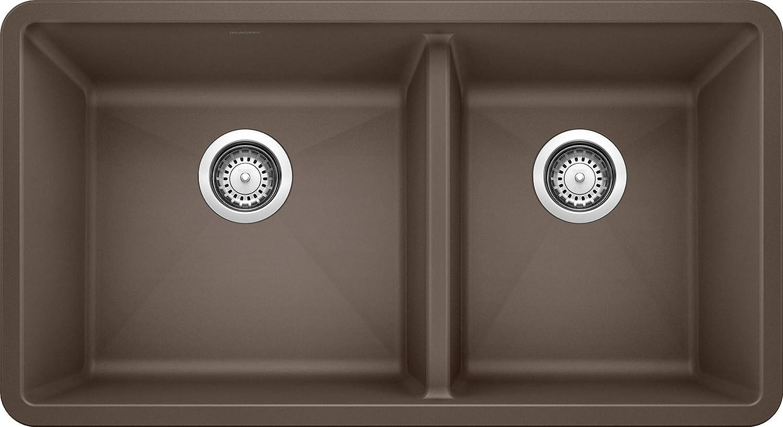 Amazon Com Blanco 441129 Precis Silgranit 60 40 Double Bowl Undermount Kitchen Sink 33 X 18 X 9 5 Inches Cafe Home Improvement