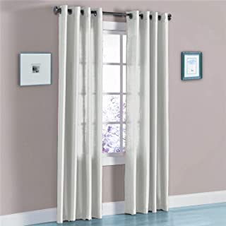 """J&V TEXTILES 2 Panels Solid Grommet Faux Silk Window Curtain Drapes Treatment in 84"""" Length (Silver)"""