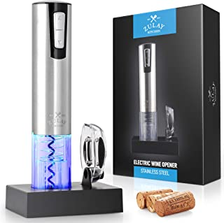 Zulay Electric Wine Opener With Charging Base and Foil Cutter - Stainless Steel Automatic Wine Bottle Opener - Rechargeabl...