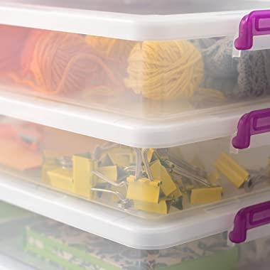 IRIS USA, Inc. MLB-360 Plastic Modular Storage Bin Tote Organizing Container with Durable Lid and Secure Latching Buckles, La