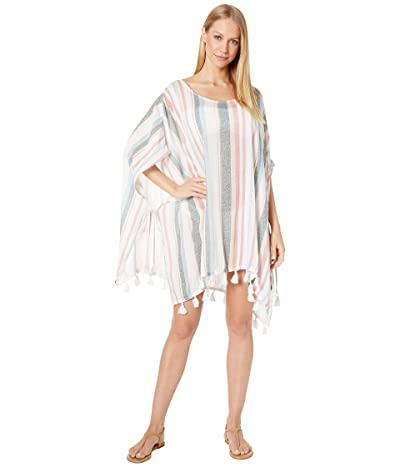 Roxy Make Your Soul Poncho Cover-Up (Bright White Retro Vertical) Women