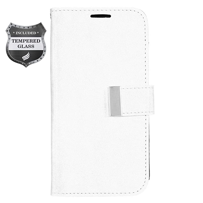 Eaglecell - Compatible with ZTE ZMax Champ Z917, AVID 916, ZMax Grand, Grand X3, Warp 7 - Luxury PU Leather Flip Wallet Case + Tempered Glass Screen Protector - White