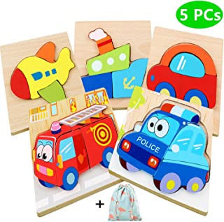 Dinana Wooden Jigsaw Puzzles for Toddlers 1 2 3 4 Years Old, Educational Toys Gift with 5 Pcs Chunky Bright Vibrant Color ...