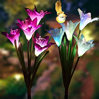 Allaza Outdoor Solar Garden Stake Lights,Upgraded Solar Powered Flower Light,8 Lily Flower with Bird Multi-Color Changing LED Decorative Lights for Backyard,Patio,Landscape (2 Pack,White and Pink)