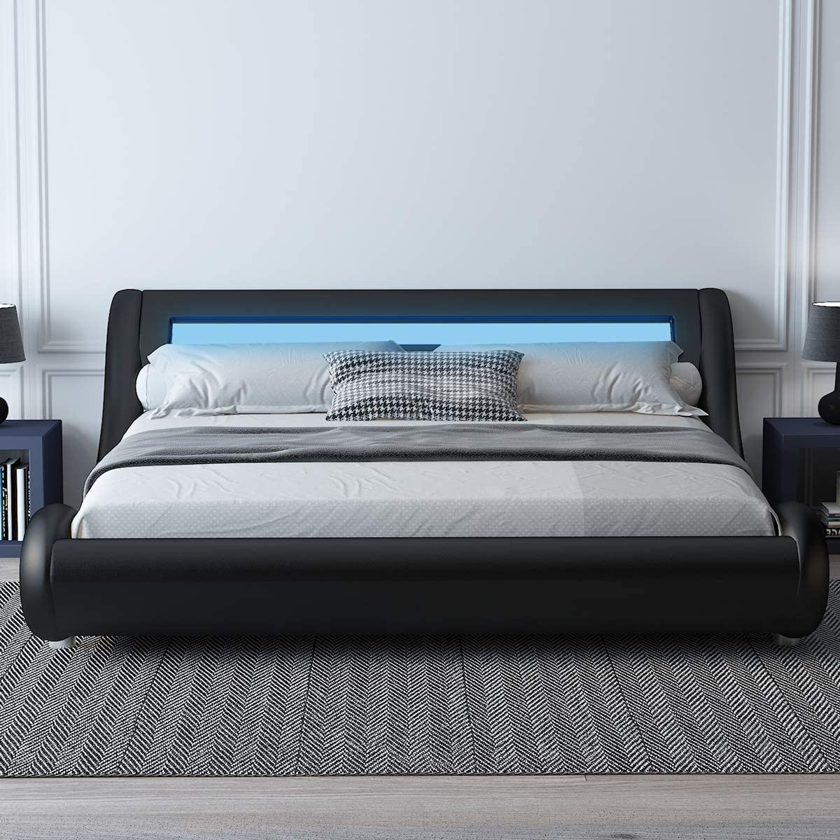 Amolife Upholstered Full Size Bed Frame with Adjustable LED Lights Headboard//Deluxe Solid Modern Platform Bed with Slat Support//Low Profile Curved Faux Leather Bed Frame,Black and White