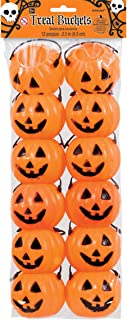 "amscan Pumpkin Plastic Treat Pails,Orange,2 1/2"""