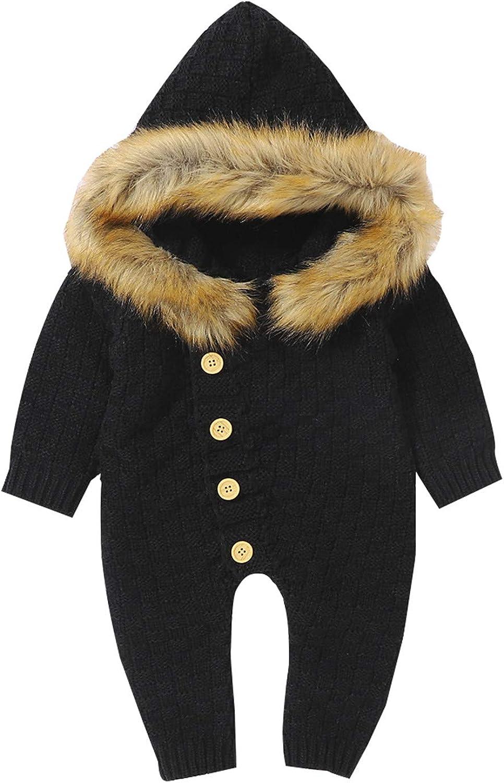 Boys Girls Winter Keep Warm Knit Hoodie Romper Sweater Jumpsuit Sleep and Play