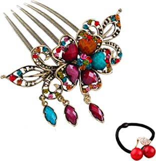 eKoi - Korean Palace Tradition Collection - Retro Vintage Color Rhinestone Hair Pieces Stick Barrette Alligator Clip Snap Ornament Pin Accessory Band for Women Girl (Flower Hair Comb)