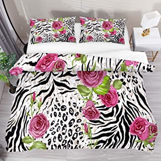 QIAOSHENG Rose Leopard Print 3 Piece Bedding Duvet Cover Set Extra Long Twin Size Printed Comforter Bedding Cover with 2 Pillow Cases Shams with Zipper Closure for Kids Teen Boys Girls