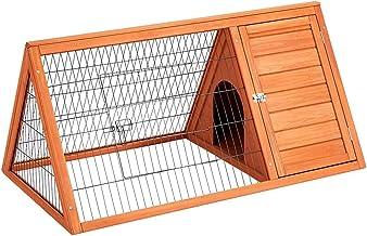"""Esright 43"""" Rabbit Hutch, Rabbit Cage Outdoor Wooden Bunny House with Ventilation Door Animal Enclosure"""