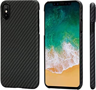 PITAKA iPhone X Case, Magcase Aramid Fiber, Slim Fit Ultra Thin(0.03in) Super Light(0.49oz) -Black/Grey(Twill)(Renewed)