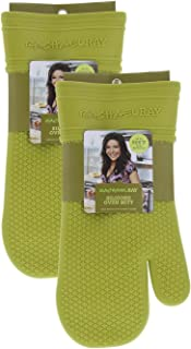 Rachael Ray Silicone Oven Mitts, 2pk -Heat Resistant Silicone Oven Gloves to Safely Handle Hot Cookware Items-Flexible, Waterproof Silicone Gloves with Non-Slip Grip and Insulated Pockets - Lime Green